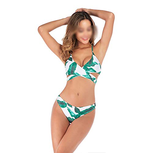 Elisha's house Femmes 2 Pièce Palm Leaves Imprimé Top Halter Cross Bikini Crop Dos Nu avec Taille Haute Palm Leaves Imprimé Bas Maillot De Bain,Green,S