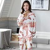 STJDM Bata de Noche,Conjunto de Pijama Mujer Otoño Primavera Mujer Camisón Tallas Grandes Pijamas de algodón Pijama Suelto Servicio a Domicilio Ropa de salón Camisón XL (60-70 kg) PAJ466