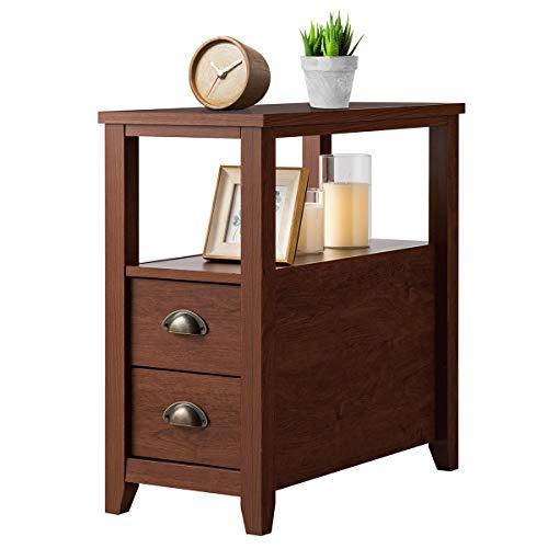 COSTWAY Nachttisch fürs Bett, Nachtkommode Holz, Nachtkonsole mit Schubladen, Beistelltisch Sofatisch braun