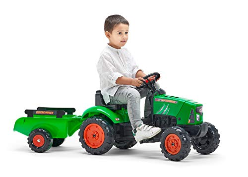 Falk - Supercharger pedal tractor with trailer - For ages 2 and up - Made in France - Opening hood - Directional steering wheel with horn - 2031AB