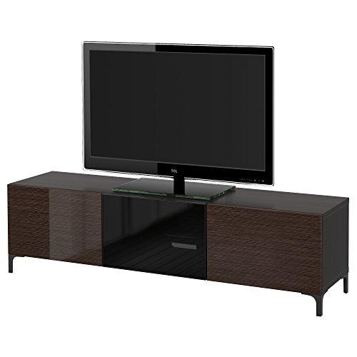 Zigzag Trading Ltd IKEA BESTA - Mueble TV con cajones y Puertas Negro-marrón/selsviken Alto Brillo Cristal Ahumado/marrón