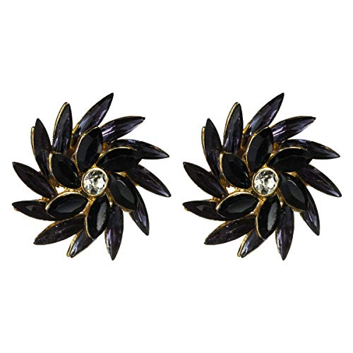 N/A - Pendientes hipoalergénicos para mujer con diamantes de imitación europeos y americanos, con diseño de flor de diamante, estilo creativo, giratorio, diseño de flores, retro, con tendencia
