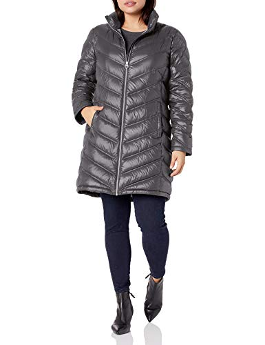 Calvin Klein Women's Chevron Packable Down Coat, Titanium, X-Large