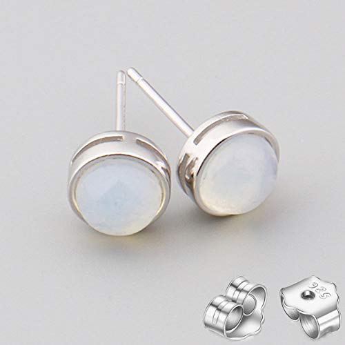 HUYV Stud Earrings For Woman,Fashion Natural Round White Agate Stone Earrings 925 Silver Stud Earrings For Christmas Birthday Jewelry Gift Men Girls