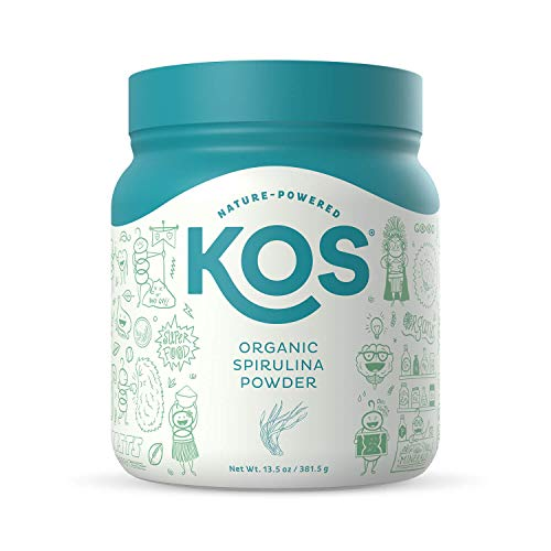 KOS Organic Spirulina Powder - Pure, Non-Irradiated Green Blue Spirulina - Rich in Protein, Vitamins, Antioxidants, Fiber - Green Superfood Powder, 13.5oz, 109 Servings