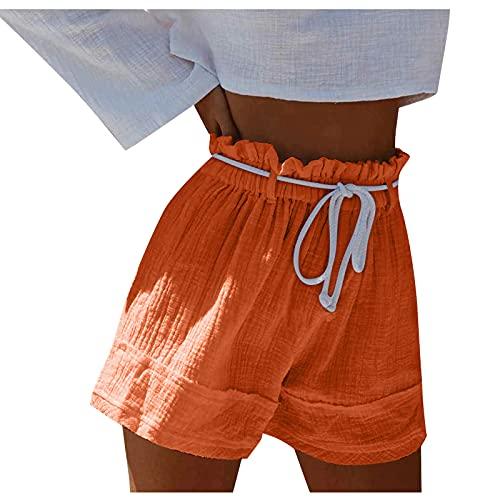 YANFANG Pantalones Cortos Color SóLido Mujer,Pantalones Sueltos con Bolsillo De Cintura EláStica Casual CordóN CóModo para Mujer Talla Grande,Pantalones Baloncesto Hombre,Orange,L