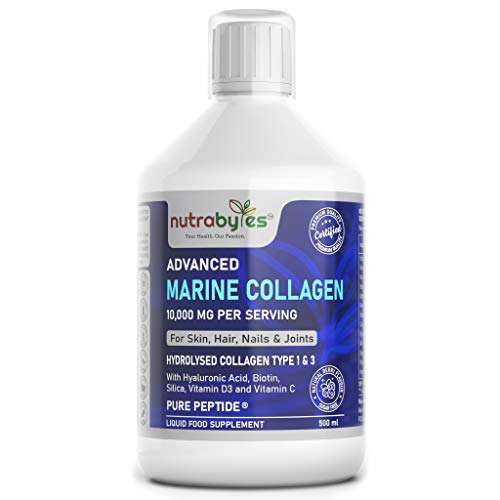 Liquid Marine Collagen 10,000mg  Pure Hydrolysed Peptides  Enhanced with Hyaluronic Acid, Biotin, Silica, Vitamin C & D3  Healthy Skin, Hair, Nails, Joints  Superior Absorption than Tablets & Capsules