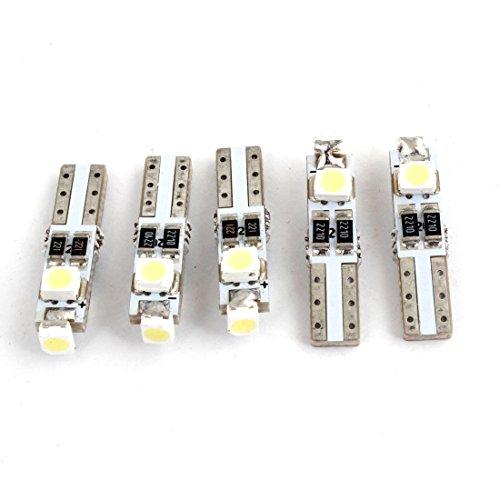 sourcingmap 5 Pièces T5 1210 3-SMD LED Indication lumières LED Blanc Lampe De Signalisation 12V