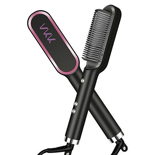 VKK Cepillo alisador de pelo | Plancha de pelo profesional | Peina, plancha, alisa y da forma al cabello | Anti-quemaduras | Calentamiento ultrarápido en 30s | 5 temperaturas regulable140º-200º