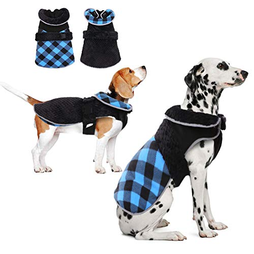 Dog Warm Winter Coat Reversible Cold Weather Jacket for Small Medium Large Dogs, Cozy Waterproof Windproof Plaid Vest, Adjustable Reflective High Collar Dog Hiking Outdoor Thicker Fleece Clothes