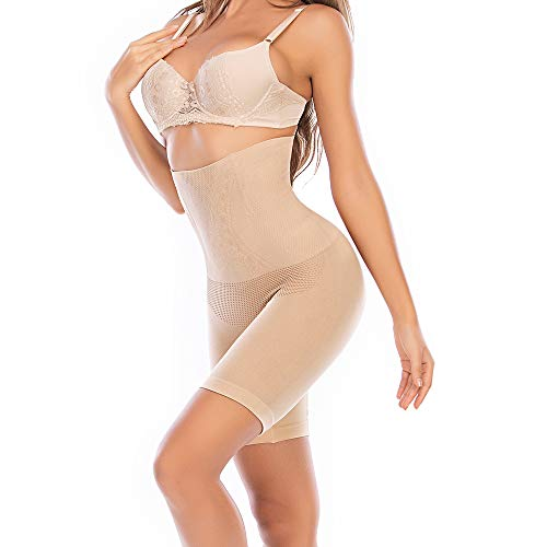 SURE YOU LIKE Women Tummy Control Shapewear Shorts High Waist Trainer Silhouette Body Shaper Butt Lifter Underwear Plus Size Beige, XL XXL, 18-22 Plus
