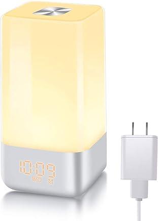 【光+音!目覚まし時計】 YABAE Wake Up Light 自然音 めざまし時計 大音量 アラーム ベッドサイドランプ 3段階調光 おしゃれ led 時計 テーブルライト デジタル ランプシェード 北欧 usb充電 寝室 室内用 電源アダプター付き MY-3