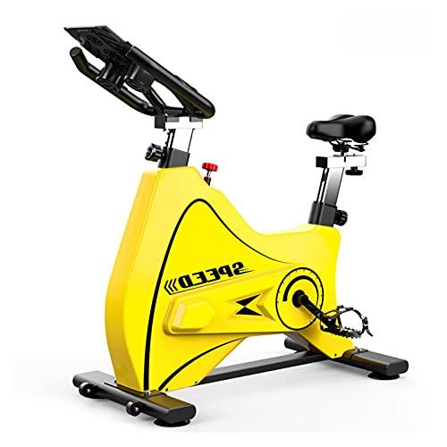 Spinning Bike Bicicleta De Ejercicios para El Gimnasio para El Hogar, Bicicleta Estacionaria Interior con Volante De Acero Pesado, Resistencia Ajustable (Color : Yellow)