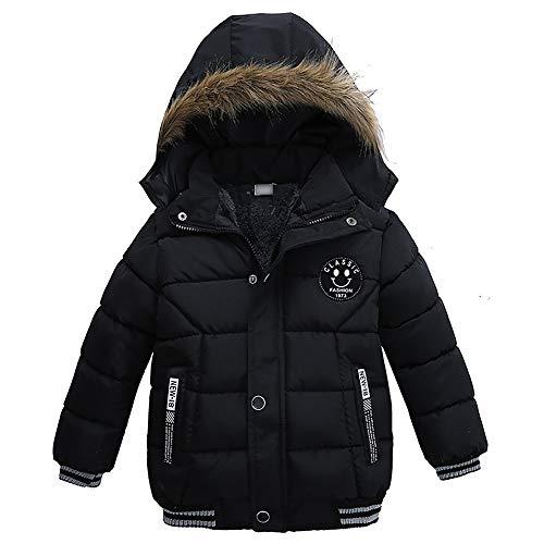 AMIYAN Toddler Boys Down Jacket Fur Collar Hood Thick Warm Winter Snowsuit Coat Parka Black
