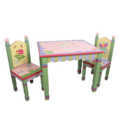 Fantasy Fields - Magic Garden Thematic Hand Crafted Kids Wooden Table & 2 Chairs Set Imagination Inspiring Hand Crafted & Hand Painted Details Non-Toxic, Lead Free Water-Based Paint, Pink Flower