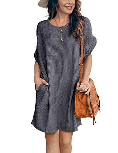 IWOLLENCE Women Waffle Knit Tunic Dress Casual Summer Short Sleeve Loose Dresses Cover Up Beach Dresses with Pocket Dark Gray Large