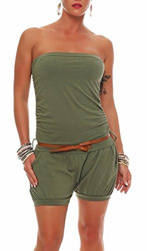 Malito Damen Einteiler kurz in Unifarben | Overall mit Gürtel | schicker Jumpsuit | Romper - Playsuit - Hosenanzug 8964 (Oliv)