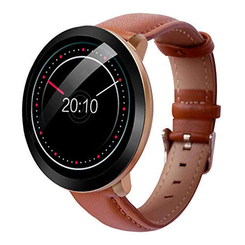 Waterproof Smartwatch Heart Rate Blood Pressure Oxygen Touch Screen Monitor, Bluetooth Fitness Tracker for Fitness Sleep Quality, Best for Couple Women Men Female +Elegant Leather Strap (Coffee)