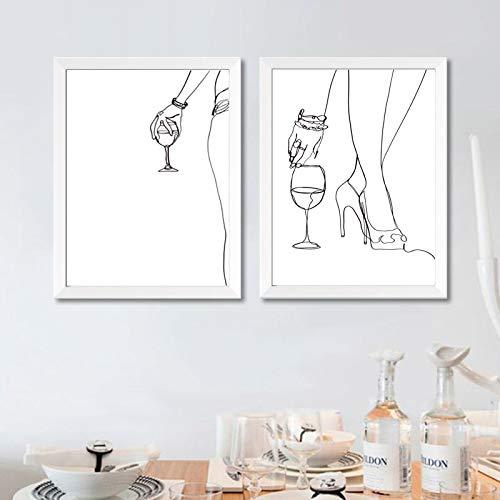 Impresiones en Lienzo Cartel de Vino Dibujo de líneas corporales de Mujer Abstracta Impresiones Wine Lover Bar Decoración Regalo Minimalista Arte de Pared Lienzo 15.7'x19.6 (40x50cm) × 2PCS