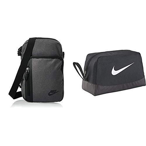 Nike Unisex's Core Small Items 3.0 Bag, Dark Grey/Black/Black, 23 x 15 x 7.5 cm & Club Team Toiletry Bag - Black/Black/White, 27 x 16 x 16 cm, 6 l