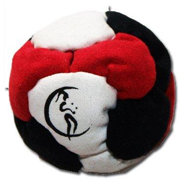 PRO Footbag AKA Hacky Sack Freestyle, 6 Panneaux (Blanc/Noir/Rouge) Parfait pour les stands et les retards! Idéal pour les débutants.