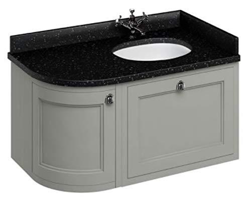Casa Padrino Hänge-Waschschrank/Waschtisch mit Granitplatte Schublade und Tür 98 x 55 x H. 59 cm, Farbe Badmöbel:dunkeloliv
