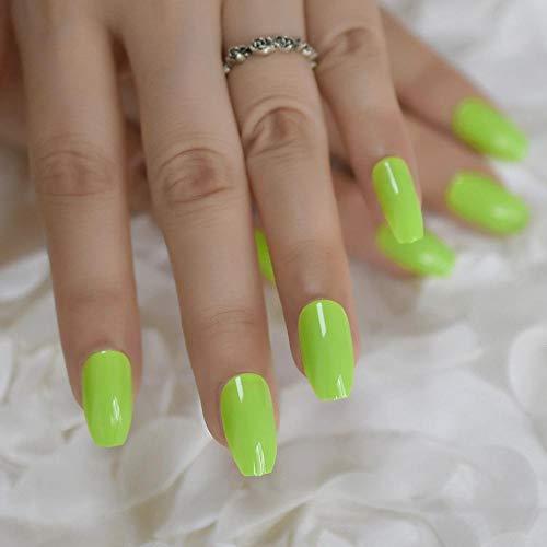 TJJL Faux ongles Néon Vert Élégant Faux Ongles D'été Brillant Moyen Populaire Cercueil Nail Lisse Manucure Accessoires 24 Pcs