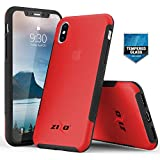 Zizo Flux 3.0 Series Compatible with iPhone X Case Frosted Rubber Back with Tempered Glass Screen Protector iPhone Xs Case RED
