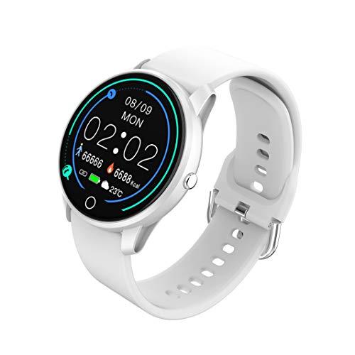 BIGCHINAMALL Smartwatch Donna,Femminile Orologio Fitness Tracker Cardiofrequenzimetro Sonno Contapassi Cronometro Notifiche Messaggi (Bianca 1)