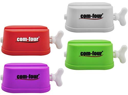 COM-FOUR® 4-delige set tube knijper - vouwbreedte: 6cm - tube press voor voedsel, tandpasta, handcrème, schoenpoets - tube emptier - tube ejector (Set van 4 buispersen)