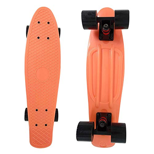 Skateboard Complete 22 Inch Salmon Cruiser Bendable Deck for Kids Beginners or Pro PU 59mm Wheels ABEC-7 220 Ibs