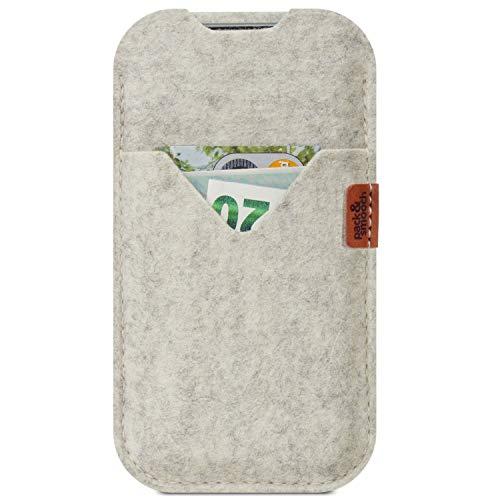 Pack und Smooch iPhone SE (2020) / 8/7 Hülle, Tasche Shetland 100prozent Merino Wollfilz, Handmade in Germany - Weiß