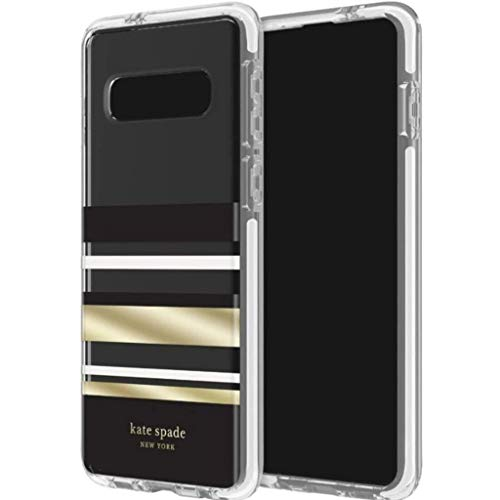 kate spade new york Defensive Hardshell Case (1-PC Comold for Samsung Galaxy S10+ - Park Stripe Black/Crean/Gold Foil/Clear