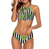 Women Criss Cross High Waisted String Floral Printed 2 Piece Bathing Suits St Patricks Day Leaf XL