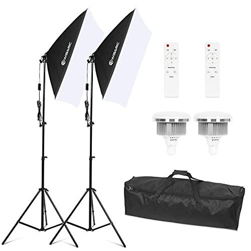 Wisamic Led Foto Softbox Set Fotostudio Licht Schirm Beleuchtung Fotografie dimmbar Licht mit 2 X 85W Fotolampen und mit 2 x Faltbare Lampenstativ