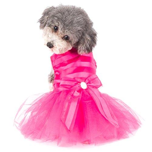 Ranphy Nuevo arco rayado princesa vestido para perro pequeño/gato niña tul tutú falda cachorro ropa rosa XL