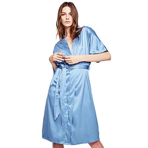 Kimono Robe Zijden Kamerjas Satin Robe Nachtkleding Pyjama Badjas Women's Pure Color Satin Short Bridesmaids Lingerie Robes Nachtkleding Nachtjapon (Color : Soot blue, Size : L)
