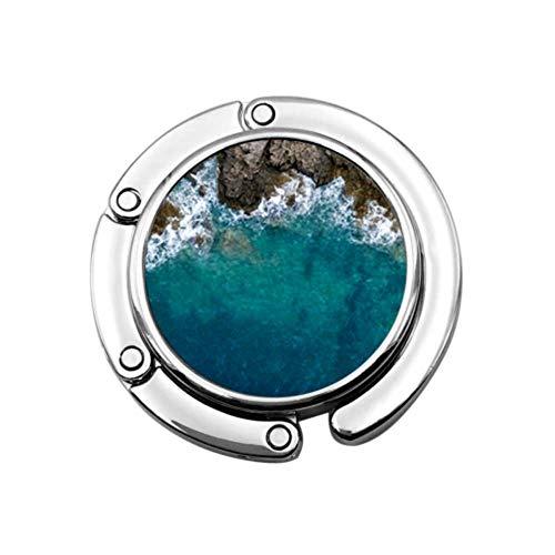 Gancho para Monedero Vista aérea Plegable Olas del mar Fantástico Bolso Plegable Rocky Colgador de Mesa-Bolsa Colgador Colección-Gancho