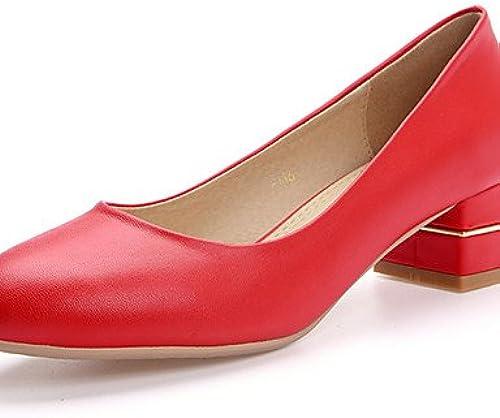 Ggx femme Chaussures Chunky Talon Bout Rond Slip on Pompe Plus de couleur disponibles