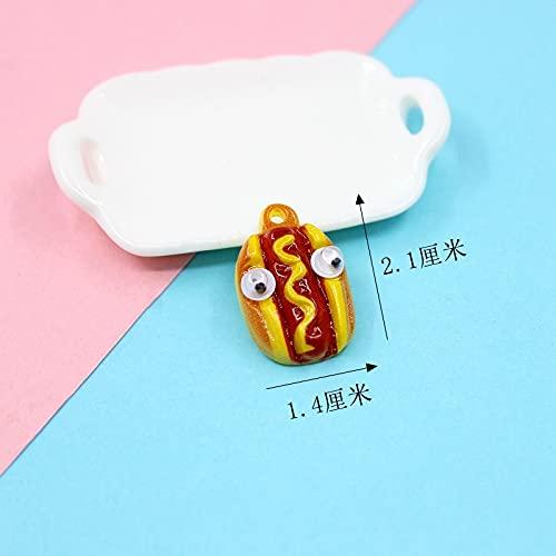 shengna 20 piezas de resina de simulación de bricolaje Kawaii Craft Phone Shell Scrapbooking Cabujón para mini adornos, juguetes lindos accesorios DIY (color : perrito caliente)