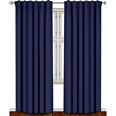 Utopia Bedding - Blackout Room Darkening and Thermal Insulating Window Curtains/Panels/Drapes - 2 Panels Set - 7 Back Loops per Panel - 2 Tie Back Included (Navy, 52 x 84)