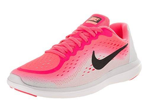 Nike Girl's Flex RN 2017 (GS) Running Shoe Racer Pink/Black/Pure Platinum/Lava Glow Size 6.5 M US