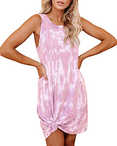 CYiNu Womens Tie Dye Nightgown Sleeveless Loungewear Swing Tank Dress Loose Comfy Pajama Sleepwear (Pink, XL)