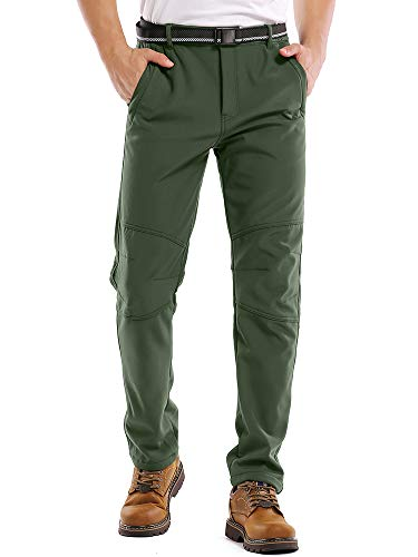 Jessie Kidden Waterproof Pants Mens, Fleece Lined Hiking Climbing Motorcycle Ski Snow Insulated Soft Shell Pants with Belt #5088-Army Green,33
