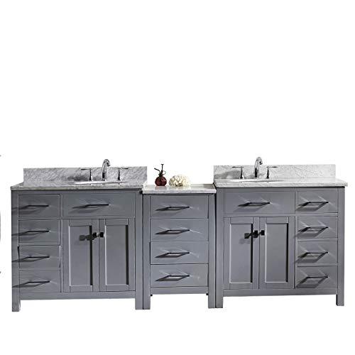 Virtu USA Caroline Parkway Bathroom Vanity Set, 93 inches, Cool Gray
