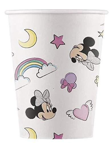Procos 90814 Disney kartonnen beker 200 ml, 8 stuks, Minnie Mouse, eenhoorn, composteerbaar