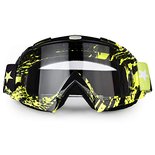 BOLLFO Motorcycle Goggles Motocross ATY Dirt Bike Goggles Anti-UV Safety Protective Anti Fog Tactical Goggles for Cycling Riding Climbing Skiing (Black Green Frame Transparent Lens)