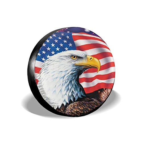 Jackmen Spare Tire Cover American Eagle Flag Polyester Universal Waterproof Corrosion Protection Wheel Covers for Trailer RV SUV Truck and Many Vehicles 15 inch