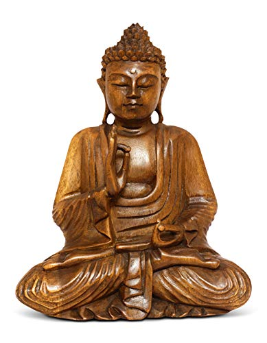 G6 COLLECTION Wooden Serene Sitting Buddha Statue Handmade Meditating Sculpture Figurine Decorative Home Decor Accent Rustic Handcrafted Art Traditional Modern Contemporary Oriental Decor (8' Tall)