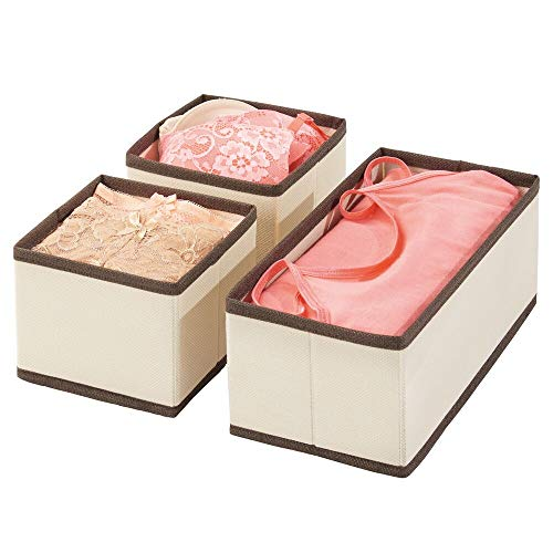 mDesign Set da 3 Organizer in stoffa – Contenitore portaoggetti in fibra sintetica per calze, biancheria, leggins, ecc. – Versatili box per cassetti per camera da letto – crema/marrone